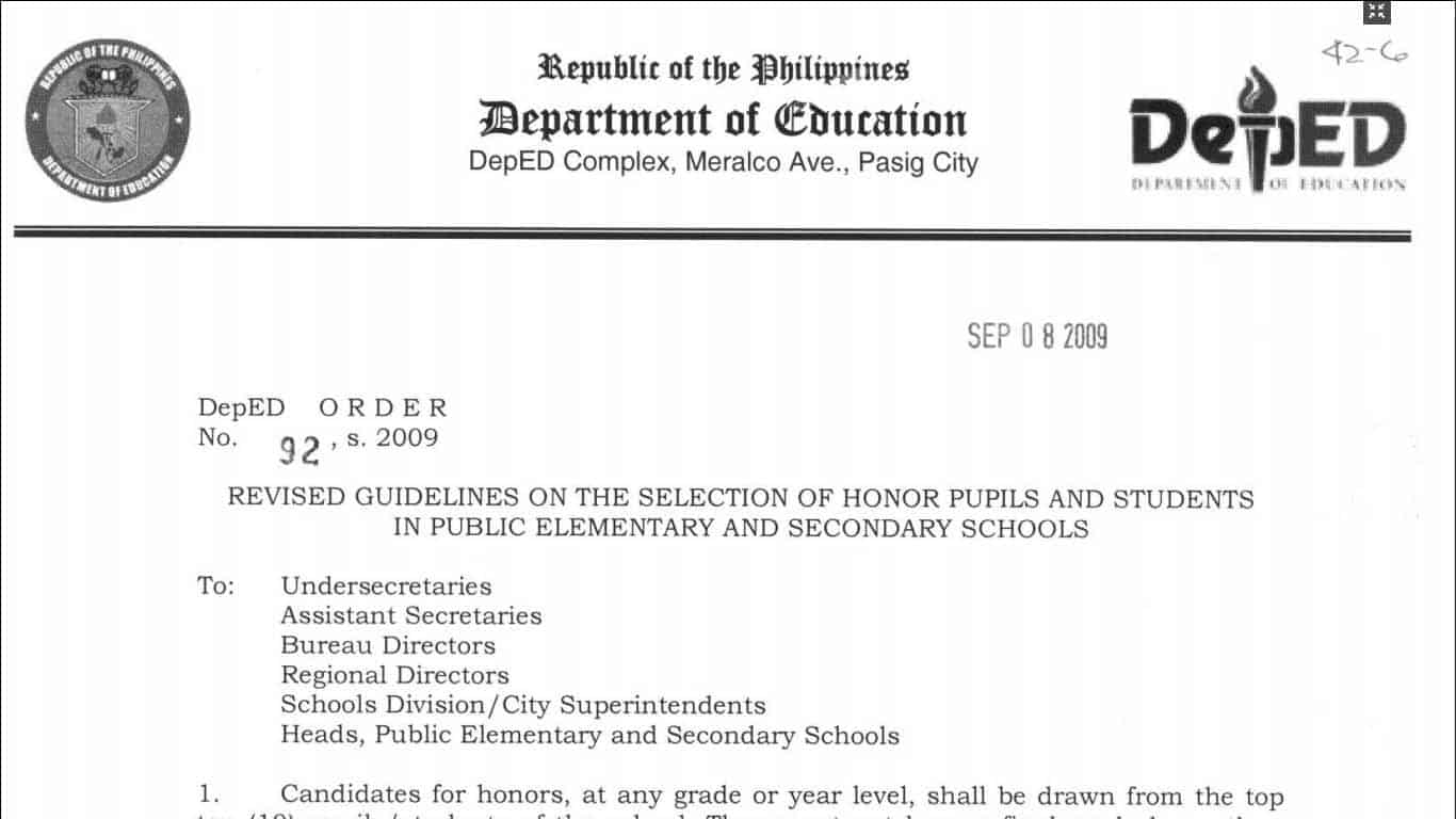 Guidelines on the Selection of Honor Pupils and Students in Public Elementary and Secondary Schools