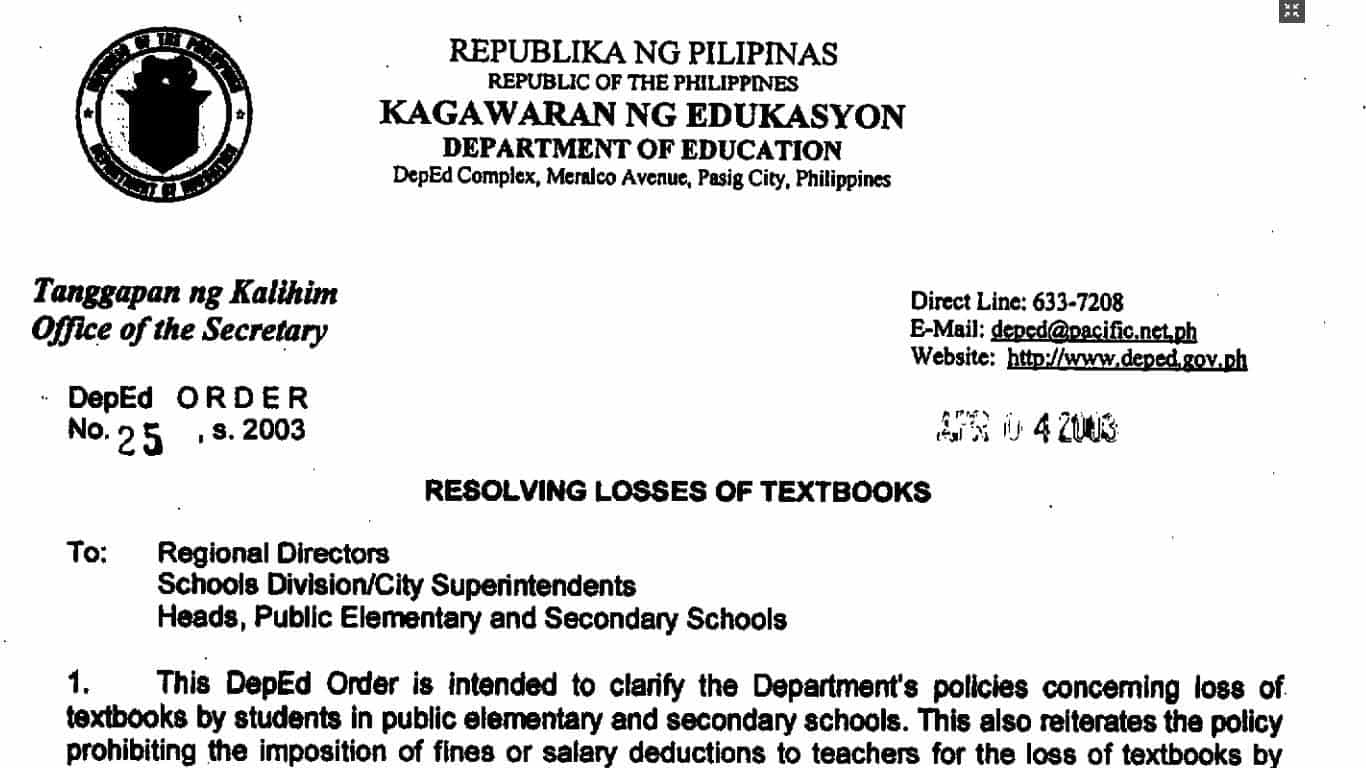 DepEd Guidelines on Resolving Losses of Textbooks