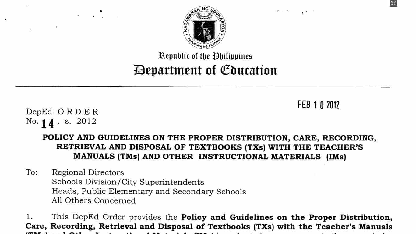 DepEd Guidelines on the Proper Distribution and Disposal of Textbooks