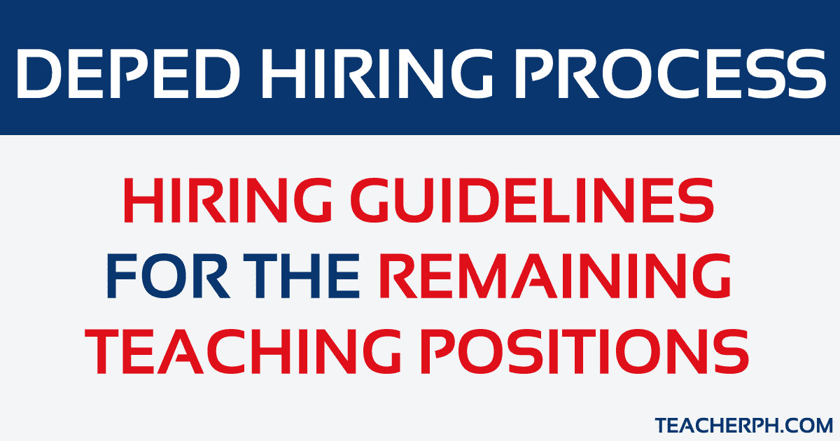 Updated DepEd Order No  22, s  2015 Hiring Guidelines - TeacherPH