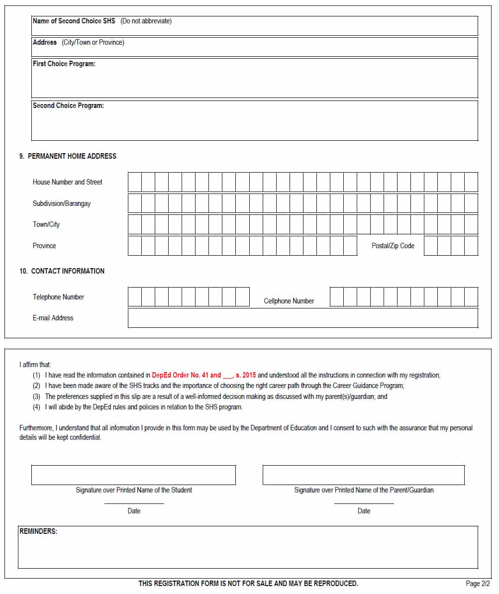 Enrolment form template for High school registration form template
