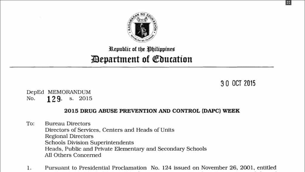 2015 Drug Abuse Prevention and Control (DAPC) Week