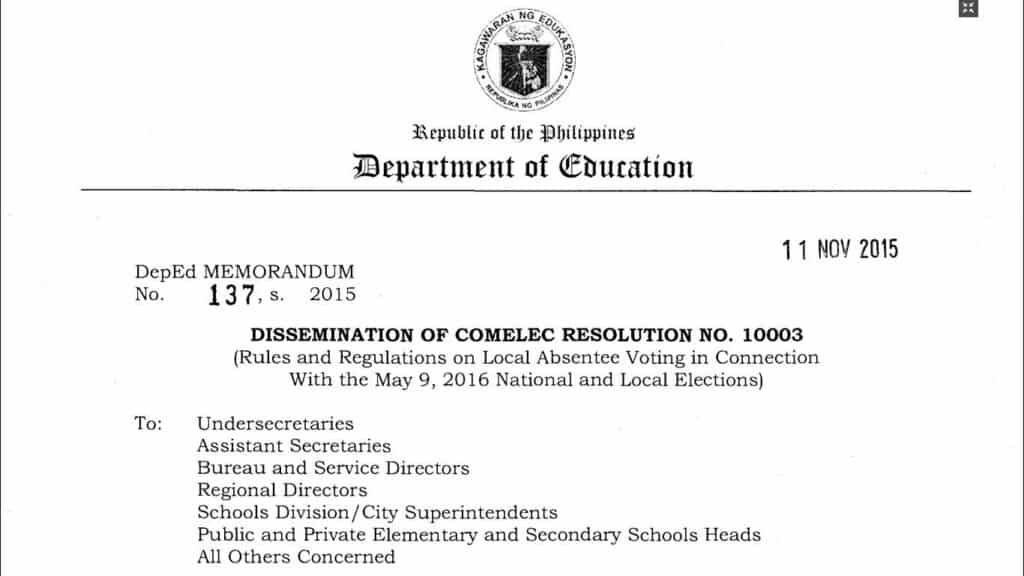 Dissemination of Comelec Resolution No. 10003