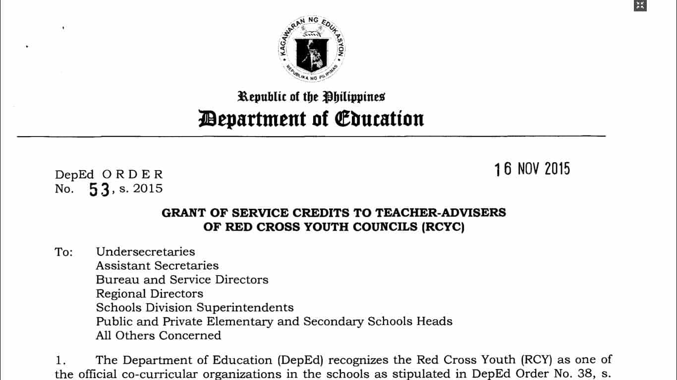 Grant of Service Credits to Teacher-Advisers of Red Cross Youth Councils (RCYC)