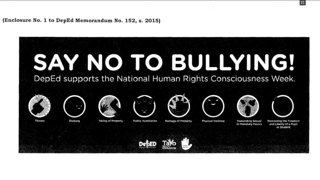 Say no to Bullying - DepEd Supports National Human Rights Conciousness Week