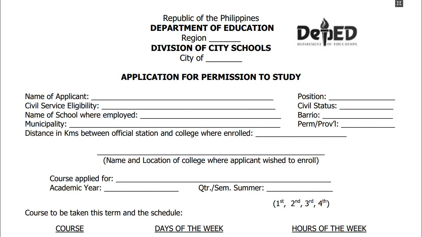 Application For Permission To Study Form Teacherph