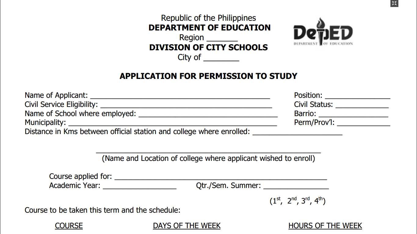 Application for permission to study form teacherph altavistaventures Choice Image