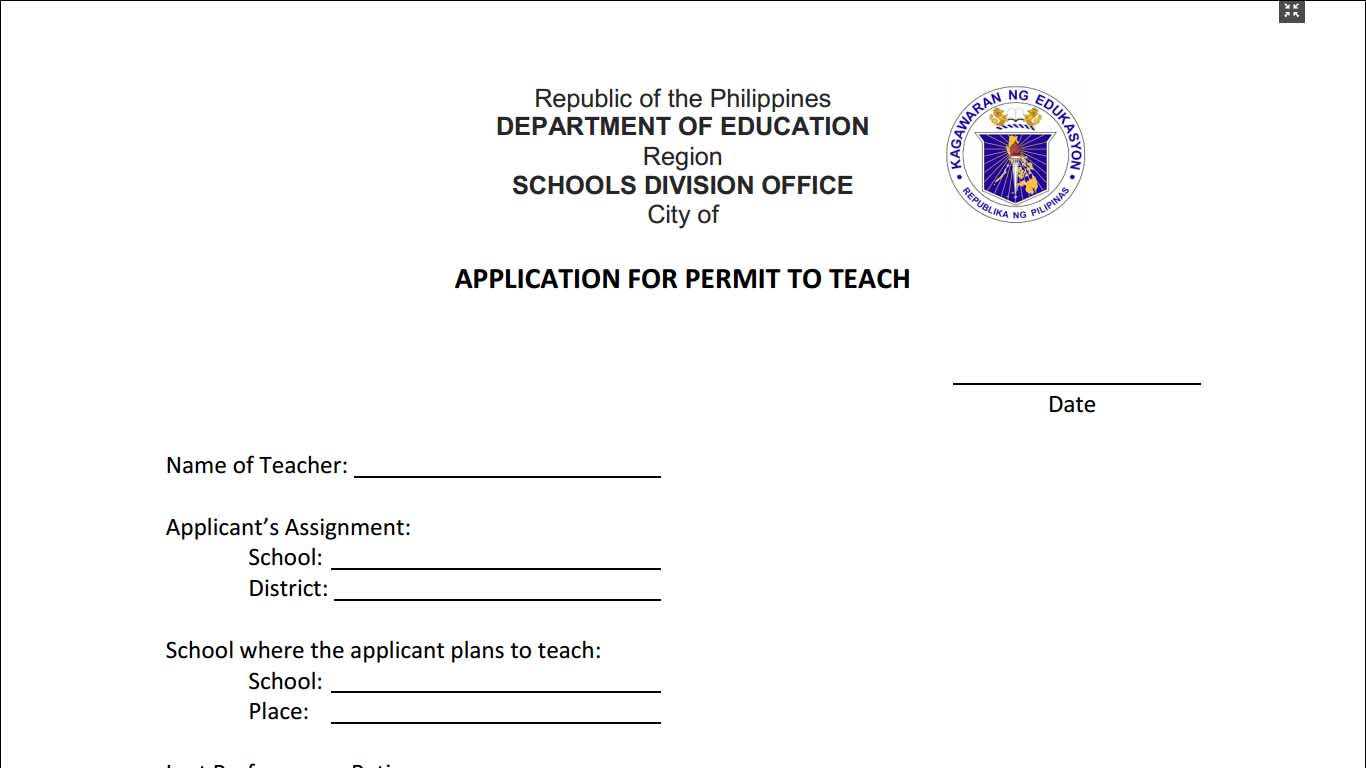 Application For Permit To Teach Form
