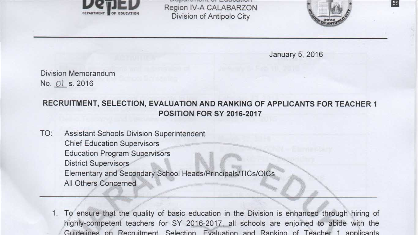 DepEd-Antipolo-2016-Ranking-of-Applicants-Teacher-1-Positions Cover Letter For Content Reviewer on philippine embassy, student affairs position, job resume format, stretch job, any job, high school teaching position,