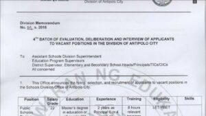 DepEd Antipolo January 2016 Bulletin of Vacant Positions