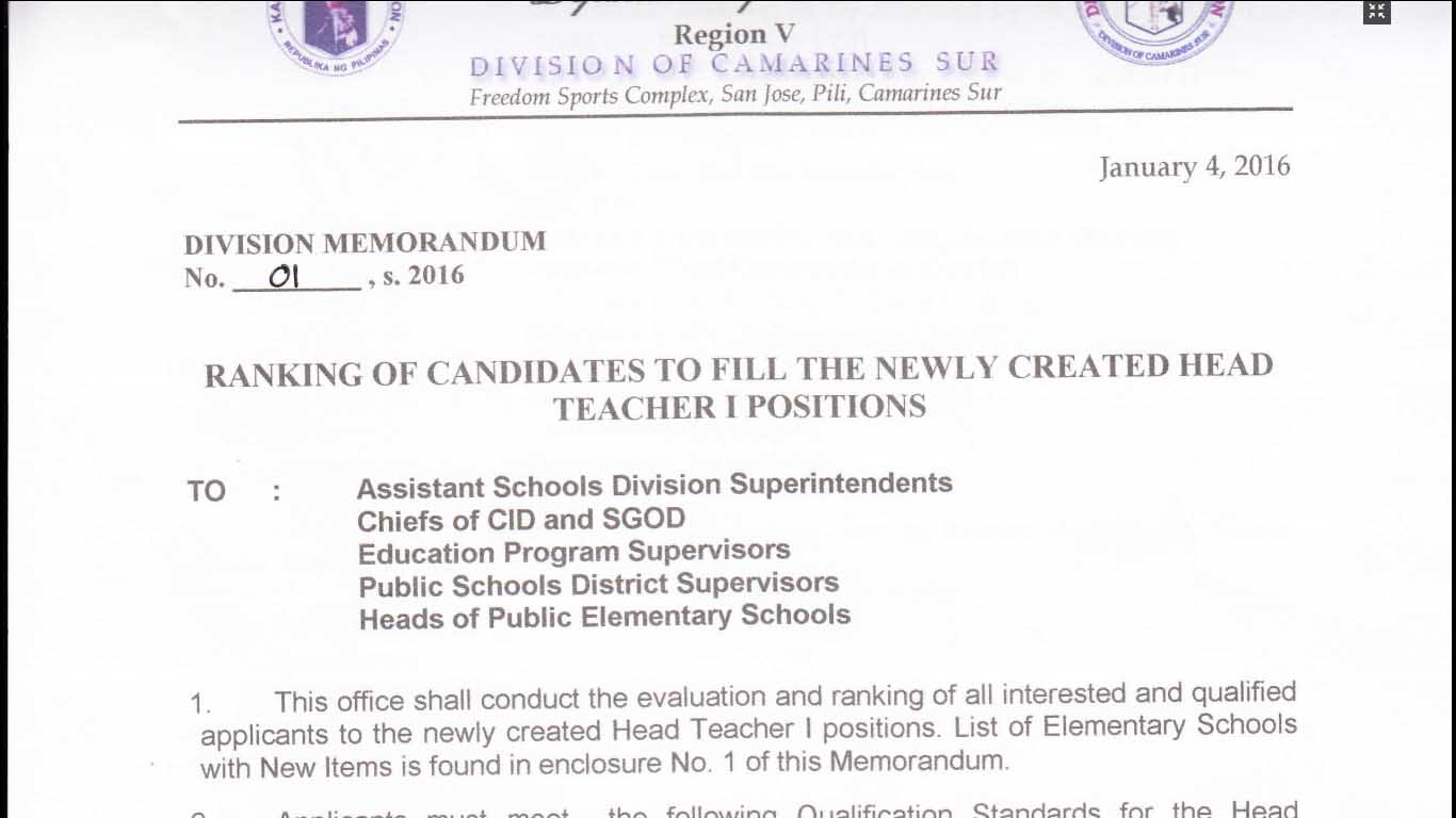 Deped Camarines Sur 2016 Ranking Of Candidates Head