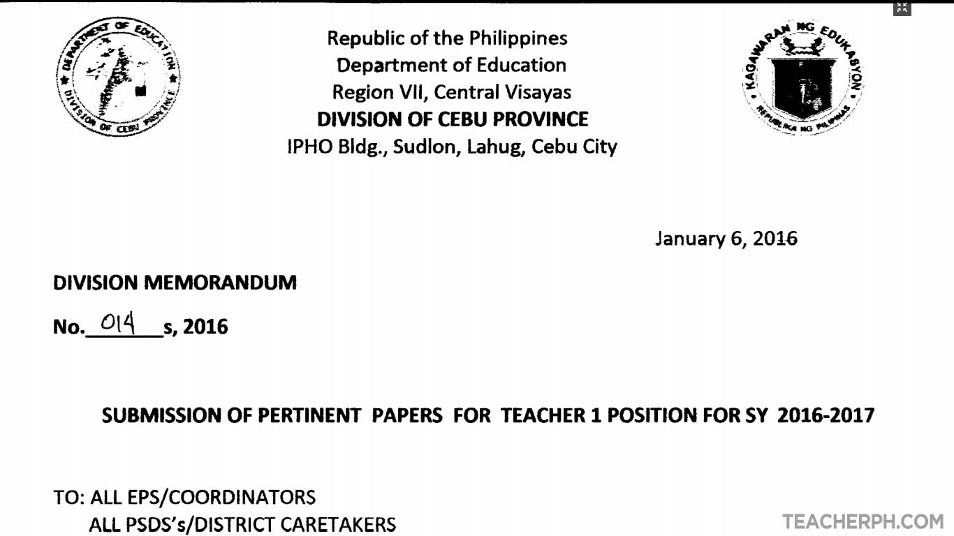Sample Application Letter Teachers Philippines Cover