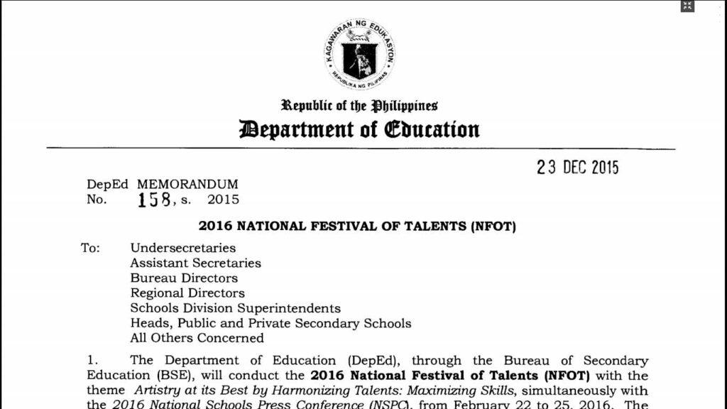 DepEd DM 158, s. 2015 - 2016 National Festival of Talents (NFOT)