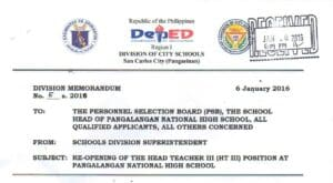 DepEd San Carlos City 2016 Ranking of Head Teacher III Positions