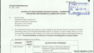 DepEd San Jose del Monte 2016 Schedule of Open Ranking for Head Teacher I Positions