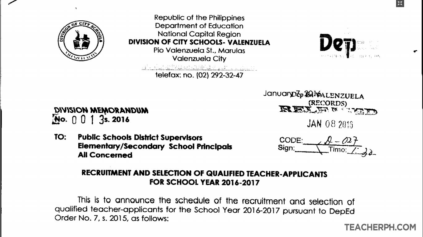 Deped valenzuela 2016 recruitment and selection of qualified teacher applicants teacherph