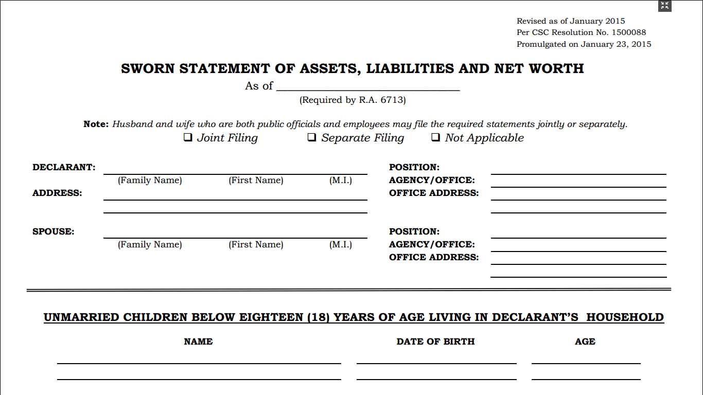 Statement of Assets Liabilities and Net Worth SALN Form – Asset and Liability Statement Template