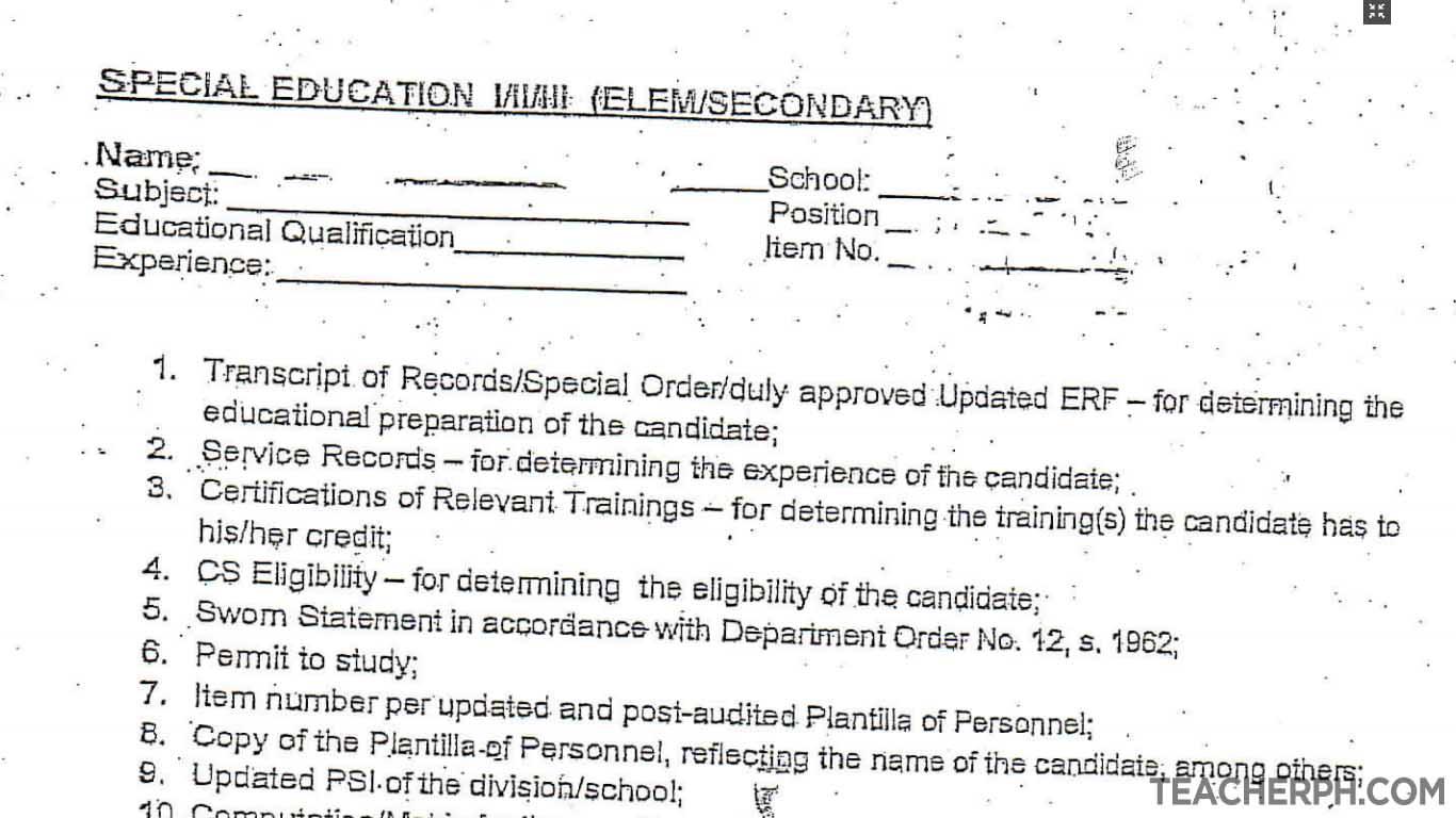 Requirements checklist for sped teacher i ii iii teacherph xflitez Images