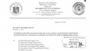 DepEd Malolos City Schedule of Open Ranking for Head Teacher I Extension Positions for Secondary and Head Teacher I Position for Elementary Level