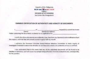 2016 Revised Omnibus Certification of Authenticity and Veracity of Documents