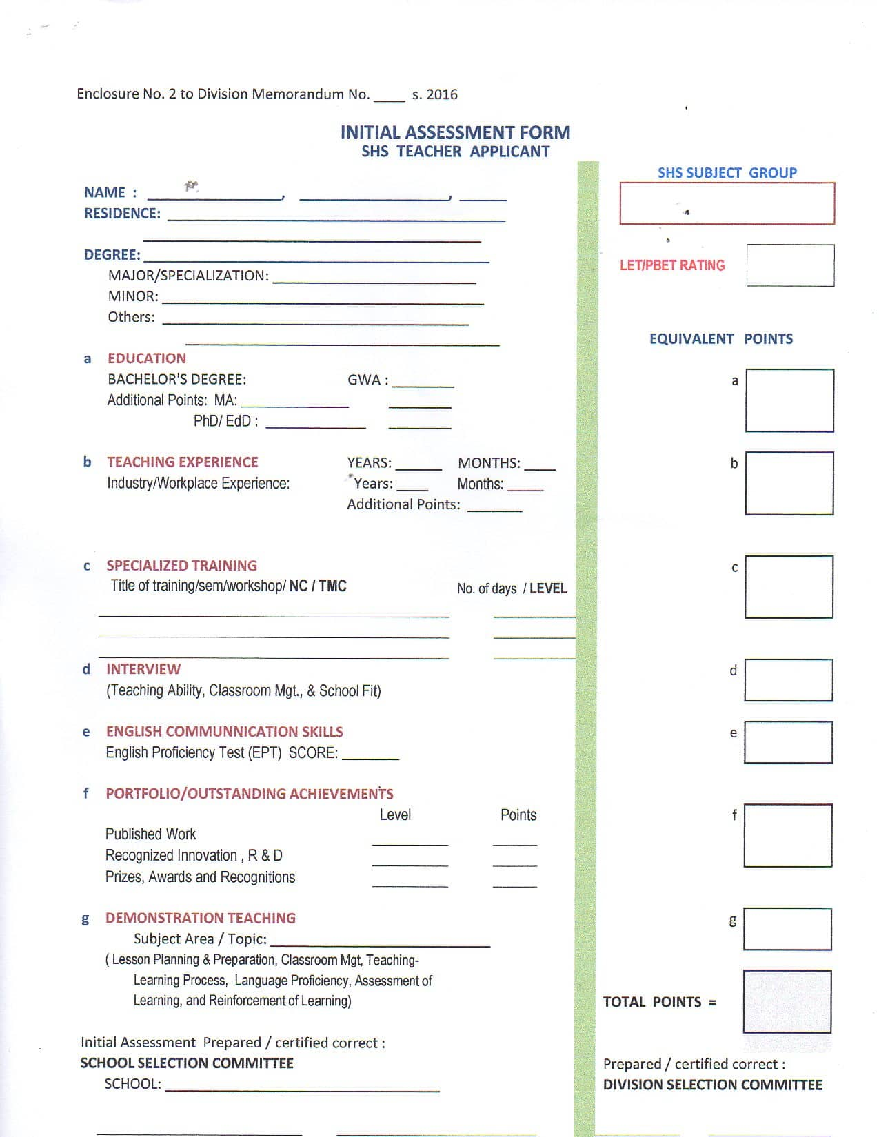 Initial Assessment Form SHS Teacher Applicant