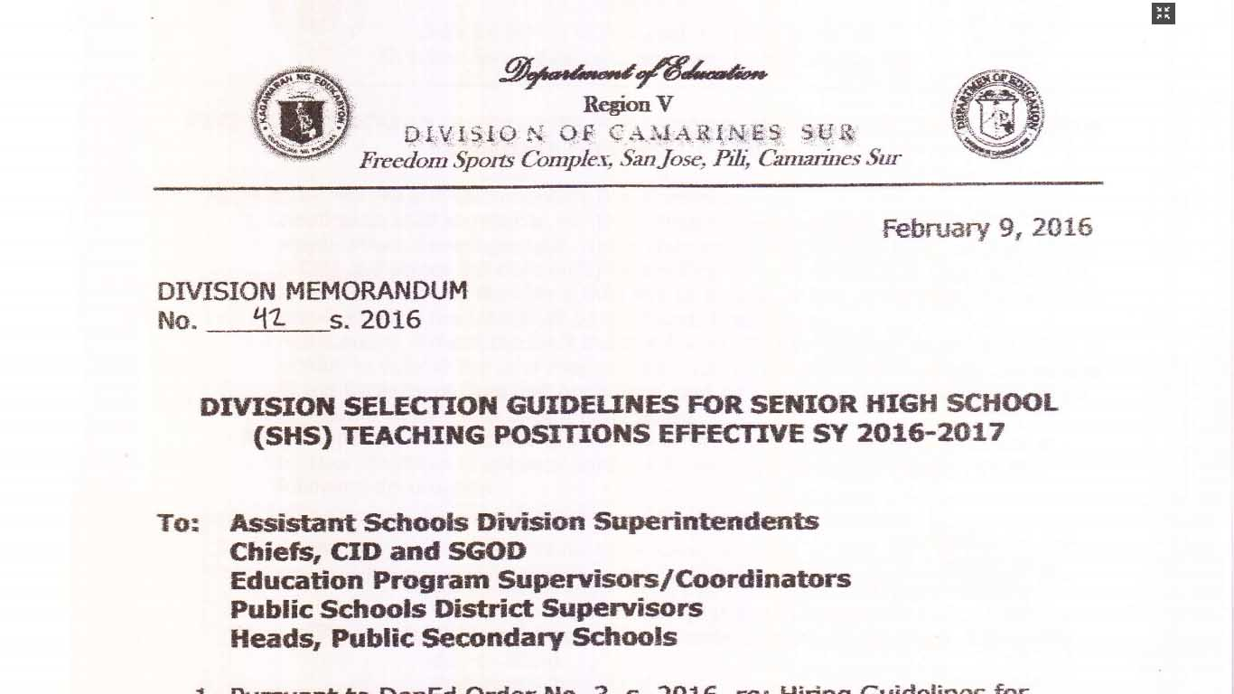 deped camarines sur recruitment of senior high school teacher applicants