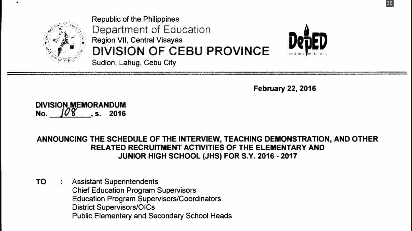 Deped cebu province selection of teacher applicants for elementary and junior high school levels teacherph