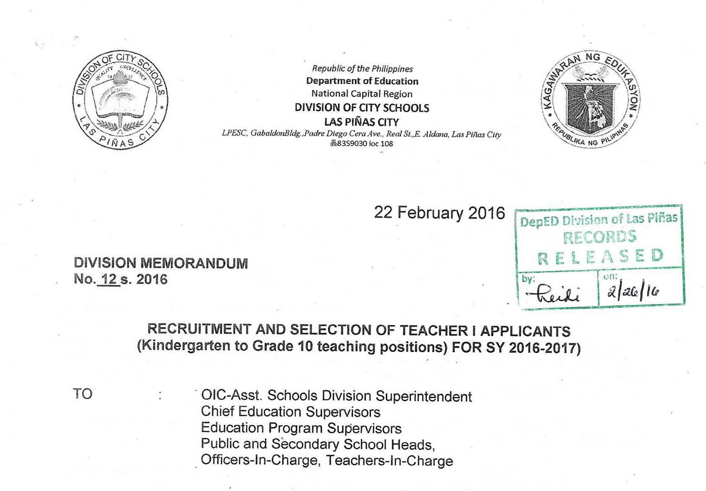 teacher application letter for ranking