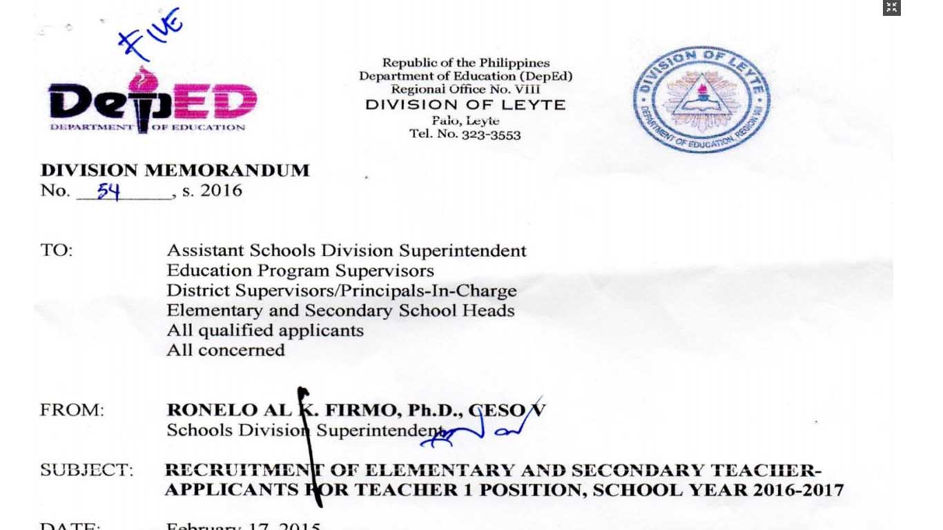 DepEd Leyte Recruitment of Elementary and Secondary Teacher Applicants for Teacher I Position
