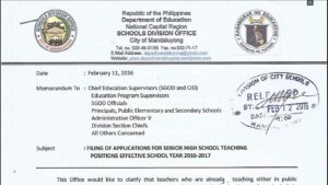 DepEd Mandaluyong Filing of Applications for Senior High School Teaching Positions Effective School Year 2016-2017