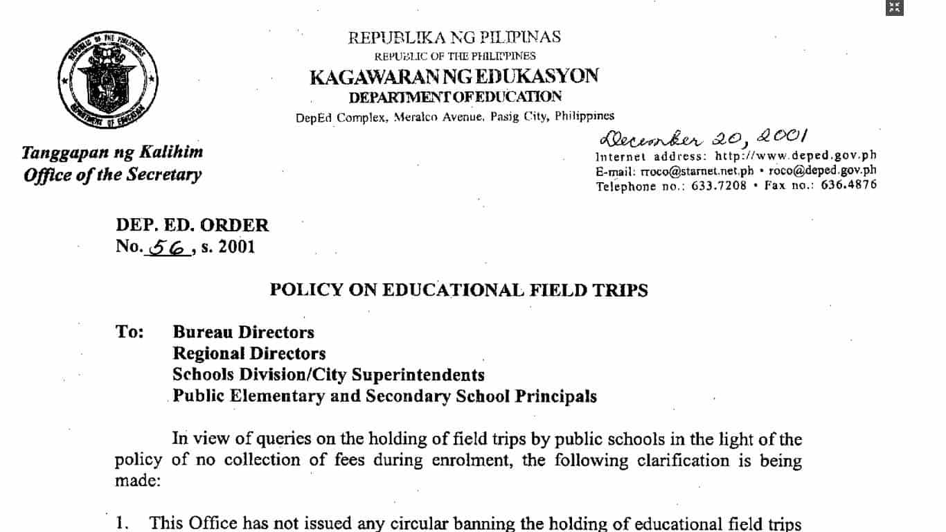 deped policy on educational field trips teacherph