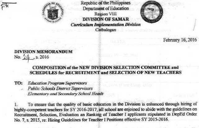 DepEd Samar 2016 Ranking of Teacher I Applicants