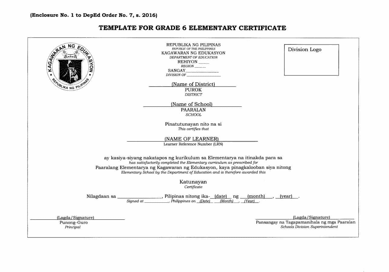 DepEd Template for Grade 6 Elementary Certificate