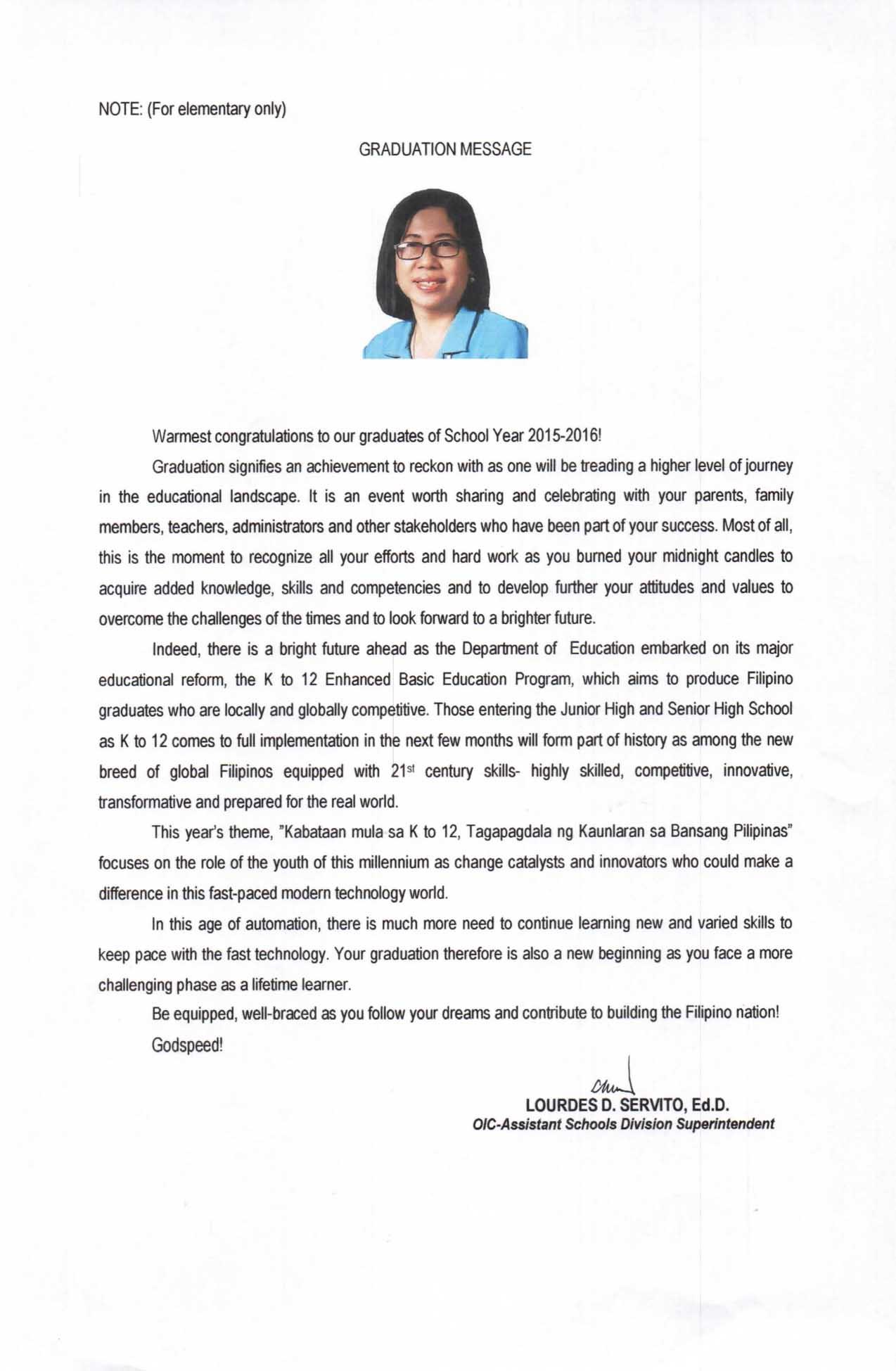 2016 graduation message of lourdes d servito teacherph 2016 graduation message of lourdes d servito elementary m4hsunfo
