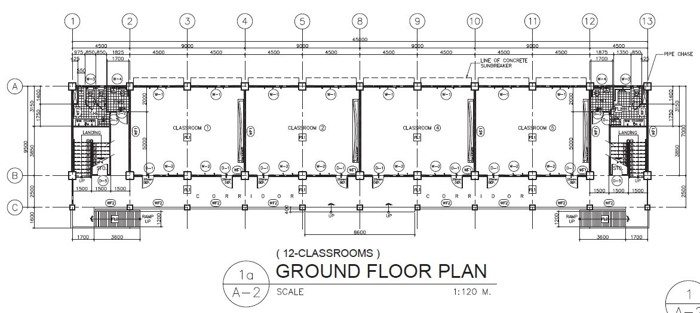 3 Storey 12 Classroom Ground Floor Plan
