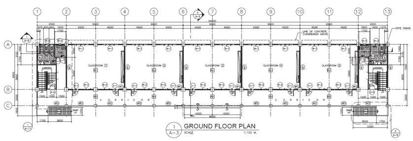 3 Storey 15 Classroom Ground Floor Plan