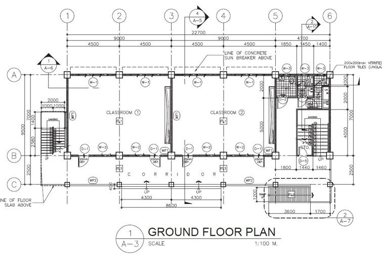 3 Storey 3 & 6 Classroom Ground Floor Plan