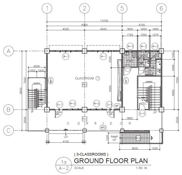 3 Storey 3 Classroom Ground Floor Plan