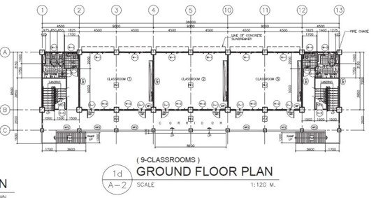 3 Storey 9 Classroom Ground Floor Plan