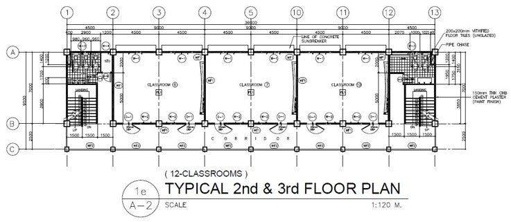 4 Storey 12 Classroom Ground Floor Plan