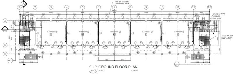 4 Storey 20 Classroom Ground Floor Plan
