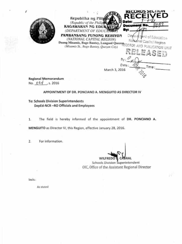 Appointment of Dr. Ponciano A. Menguito as Director IV