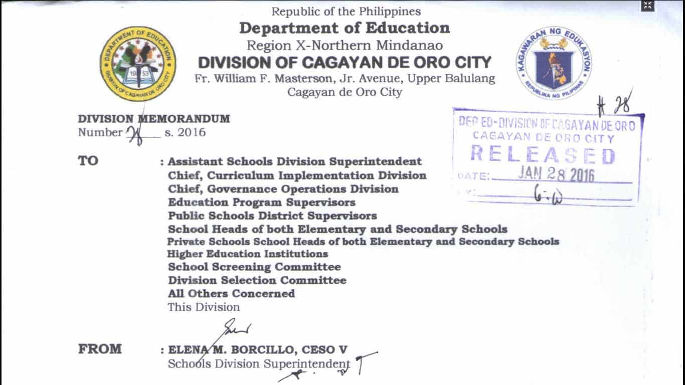 DepEd Cagayan de Oro Ranking for Teaching Positions in Elementary, Junior and Senior High School