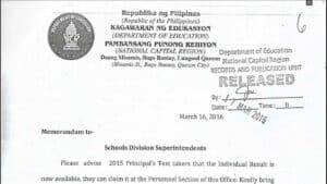 DepEd NCR - Results of the 2015 Principals' Test