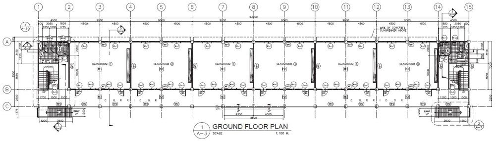 DepEd New School Building Design - Twelve Classrooms Ground Floor Plan