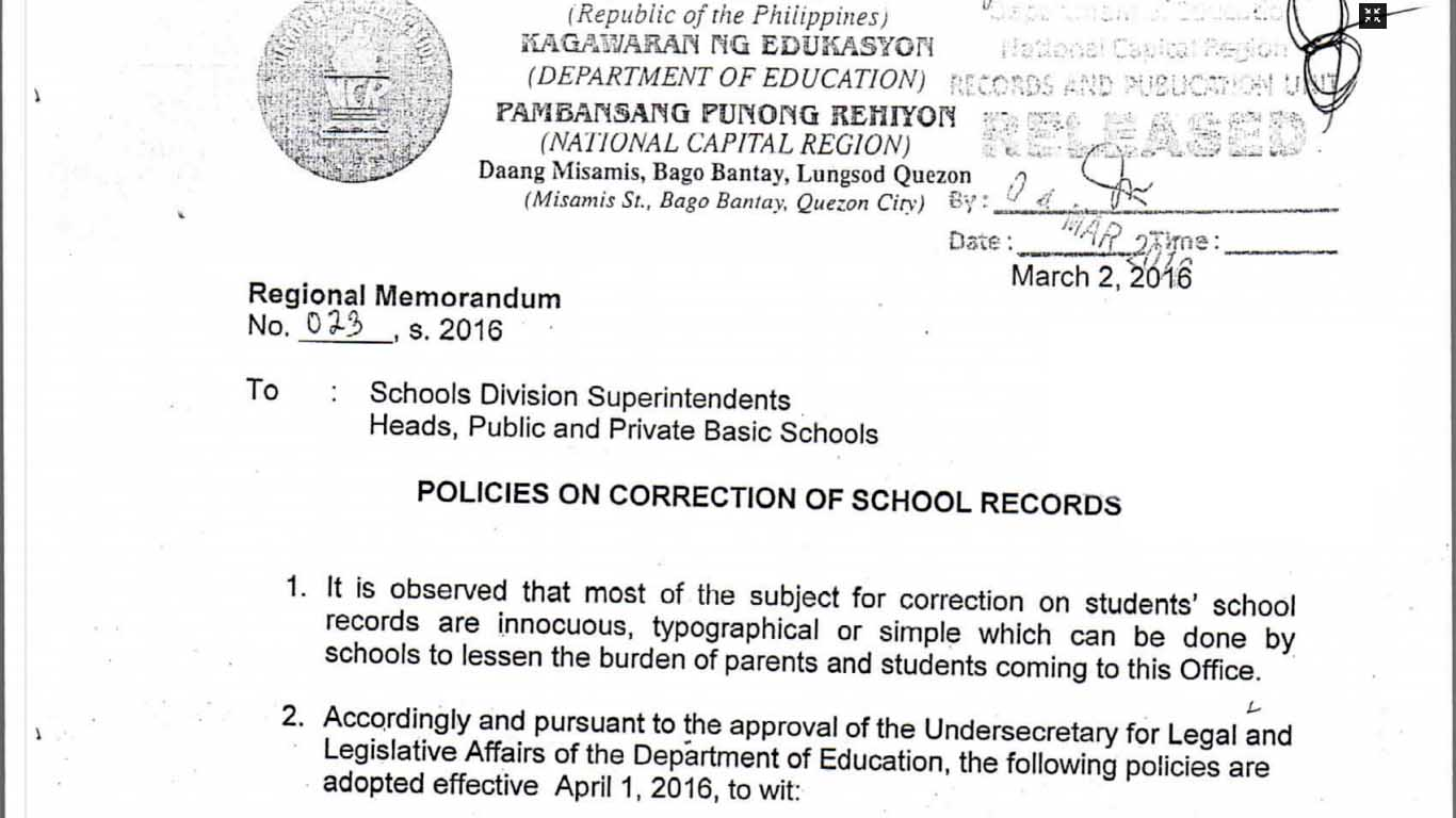 DepEd Policies On Correction Of School Records