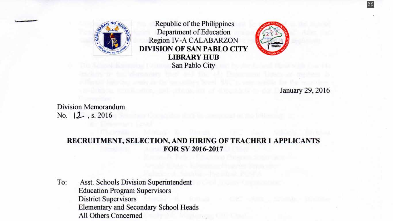 DepEd San Pablo City 2016 Ranking of Teacher I Applicants