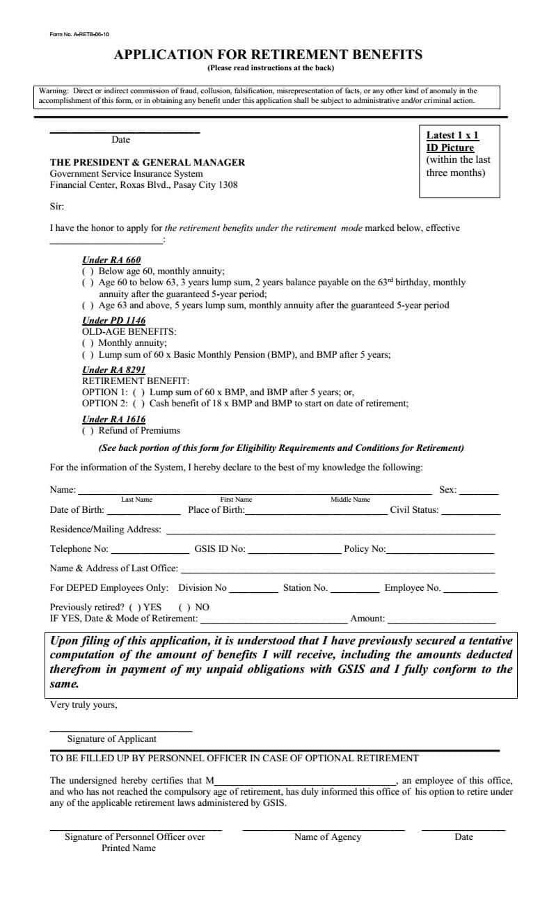 GSIS Application for Retirement Benefits Application Form