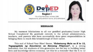 Graduation Message of Regional Director Alma Ruby C. Torio