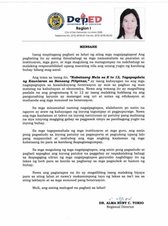 Graduation Message of Regional Director Alma Ruby C. Torio - Filipino Version